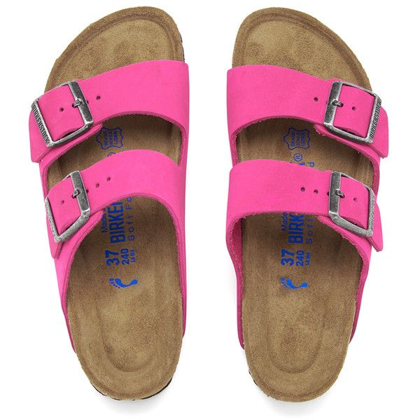 Birkenstock Women's Arizona Slim Fit Suede Double Strap Sandals ($110) ❤ liked on Polyvore featuring shoes, sandals, pink, strappy sandals, flat sandals, pink shoes, double-strap sandals and strappy flat sandals