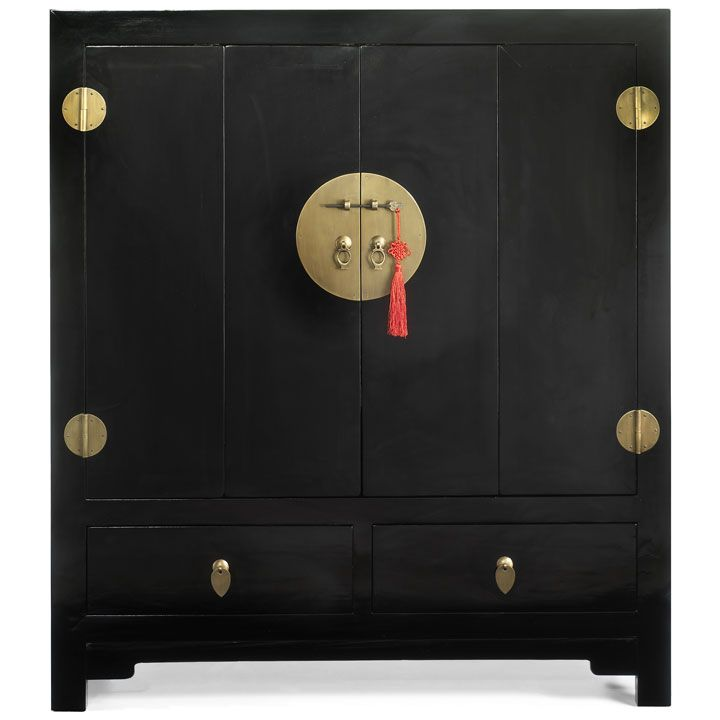 Television Cabinet in Oriental Style, Made from Solid Chinese Elm Wood in a Dark Wood or Black Lacquer Finish