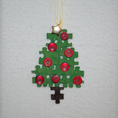 Recycle puzzle pieces to make a Christmas Tree Ornament