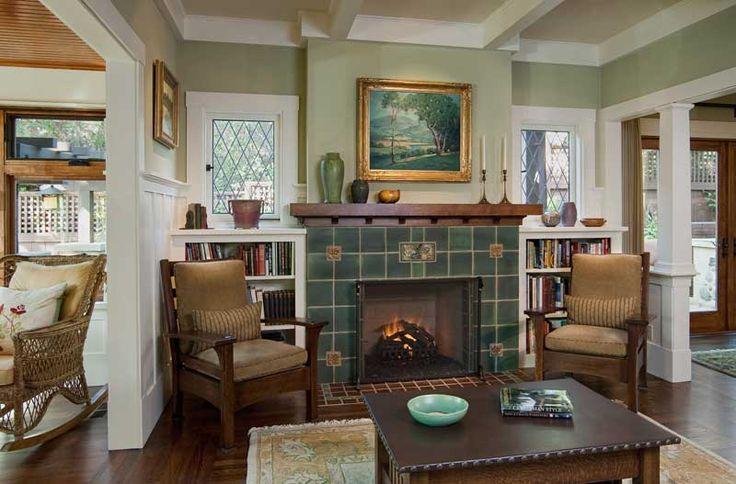 Living Room Fireplace with Green Pewabic Pottery Tile Fireplace -- photo: Larny J. Mack -- Arts & Crafts Homes and the Revival
