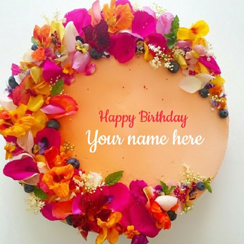 Beautiful Floral Art Birthday Wishes Cake Pic With NameMake Name OnlineCustomized On Designer HBD CakeName Colorful Flowers
