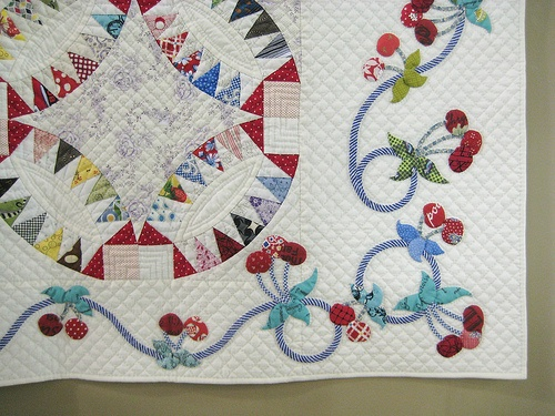 Detail 2 by Be*mused, via Flickr I love the striped fabric for stems and those cheery cherries on the border