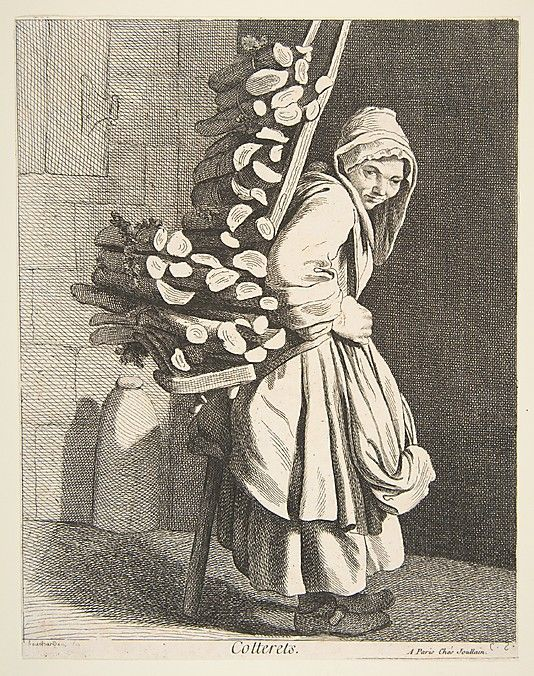 Bundled Firewood Seller, Paris, 1746, Anne Claude de Tubieres after Edme Bouchardon, etching with some engraving
