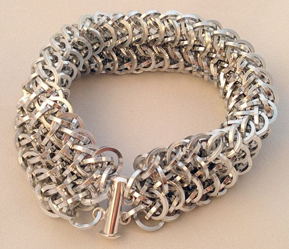 Silver Chainmaille Bracelet in Dragonscale Weave