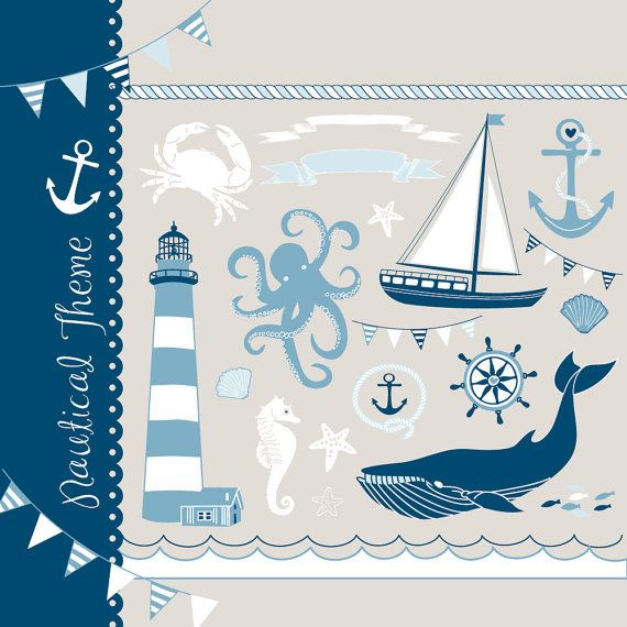 Nautical clip art collage, hand drawn sea clipart, sailboats, lighthouse, whale, anchor. for Personal and small Commercial Use