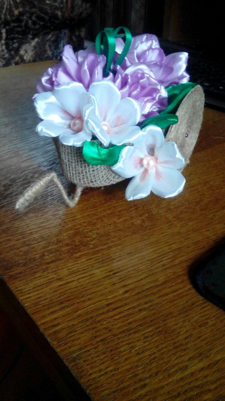 Интерьерное украшение Джут,цветы из лент и шелка
