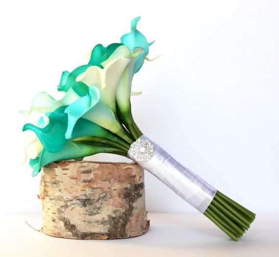Turquoise Wedding Bouquet  Calla Lily Wedding by AdoredOccasions