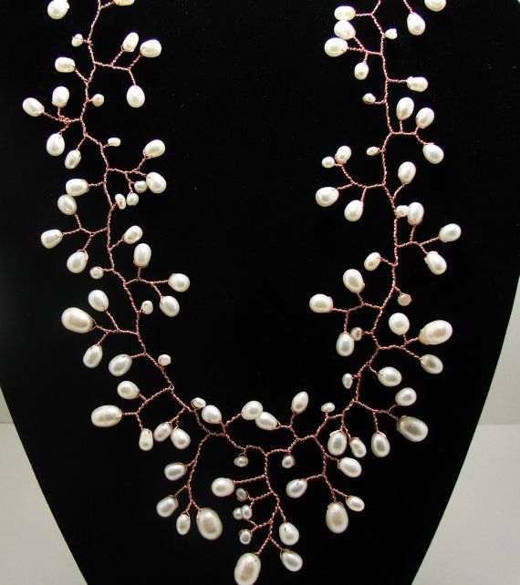 pearl necklace wire twisted vine branches [the same - sterling silver and... what else?]