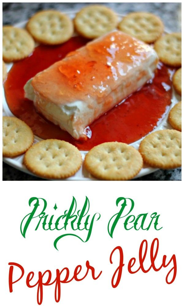 Homemade Prickly Pear Pepper Jelly and how we like to serve it over cream cheese and with RITZ crackers.