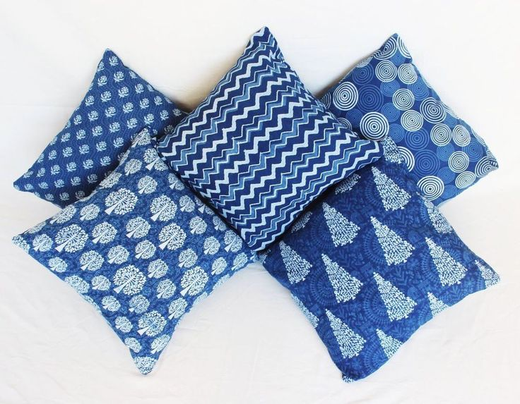5 Pcs MIX Lot Indigo Blue Dabu Hand Block Print Cushion Cover Pillow Case 16x16