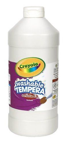Crayola Tempera Washable Paint 32-Ounce Plastic Squeeze Bottle, White by Crayola. $5.88. Washability makes fun with colors and clean-up simpler than ever. Trusted brand delivers convenience and ease of use. Kids love to paint, can be used on almost any surface Great for arts and crafts and school projects. Painting is enjoyed by children of all ages. Painting develops child's fine motor skills and teaches color mixing and blending. From the Manufacturer                Cr...