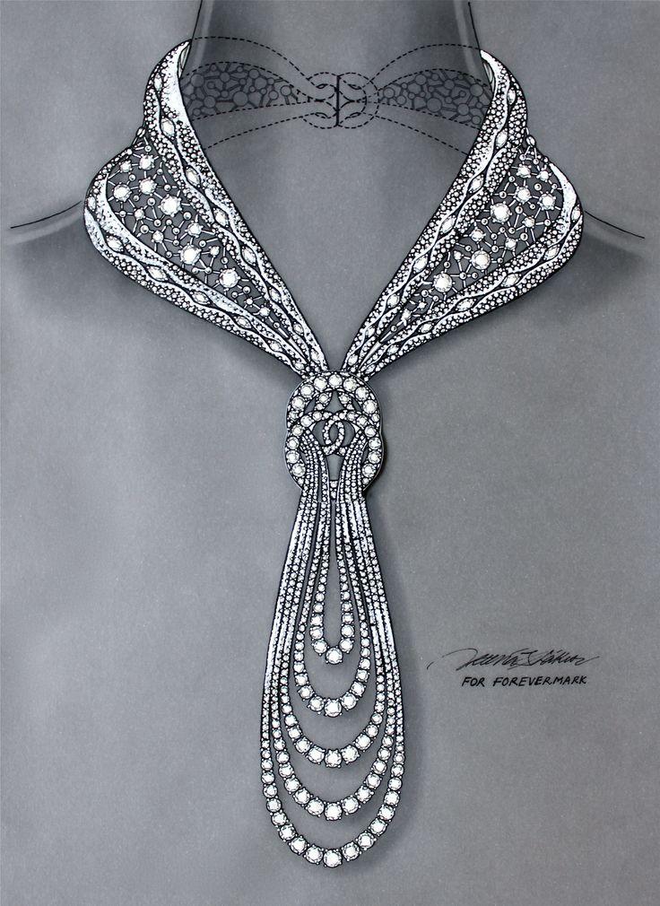 Original hand-drawn blueprint for Eternal diamond necklace for Forevermark by © Reena Ahluwalia