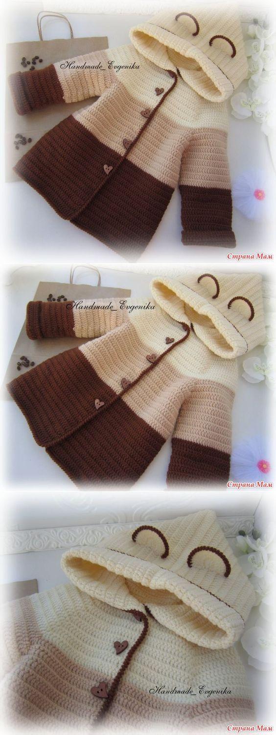 Cárdigan marron para niños pequeños tejido a crochet con capucha