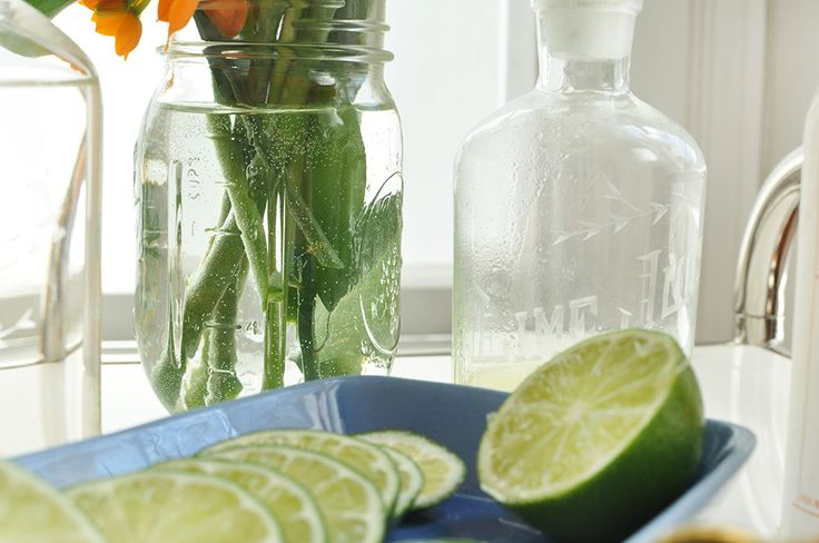 Lime Juice engraved container featured in Jalapeño Margarita Recipe for Cinco de Mayo