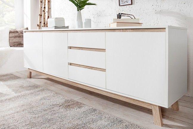 Modernes Design Sideboard STOCKHOLM 200cm Weiß wendbare Front Sonoma Eiche - Das skandinavisch angehauchte Sideboard STOCKHOLM verbindet cleveres Design mit Funktionalität. Dank 2-farbiger Beschichtun