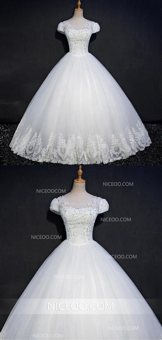00376ab8ff6774 White A Line Sweetheart Short Sleeves Empire Waist Long Wedding Dresses  Best Bride Gown in 2019