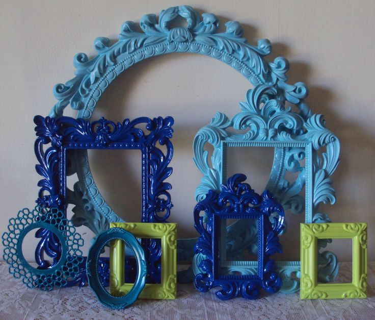 Mod Mermaid Set 8 Picture Frames Lime Green Aqua Cobalt Blue Open Frames Wall Gallery Home Office Decor FUN Colorful Unique Decor Swirl. $69.00, via Etsy.