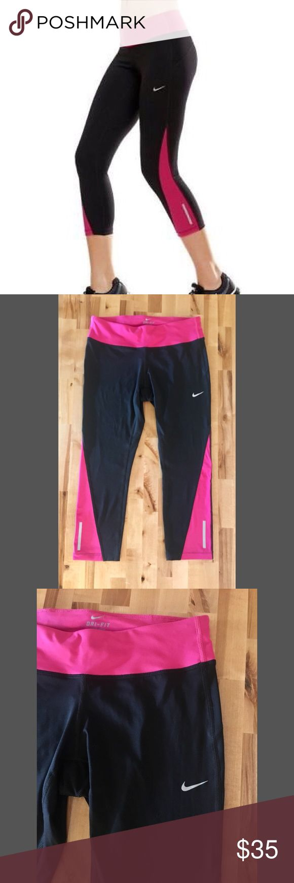 NWT Nike Racer Crop 2.0 Running Tights Black & Pink crop workout pants Medium Racer crop 2.0 Dri-Fit New with tags Nike Pants Leggings