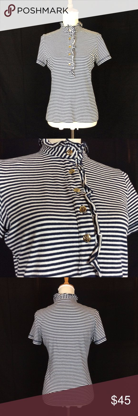 Tory Burch Striped Shirt Tory Burch Classic Striped button up frilly collar shirt.Love the navy and white stripes. GUC No tears, piling, all original working buttons! Tory Burch Tops