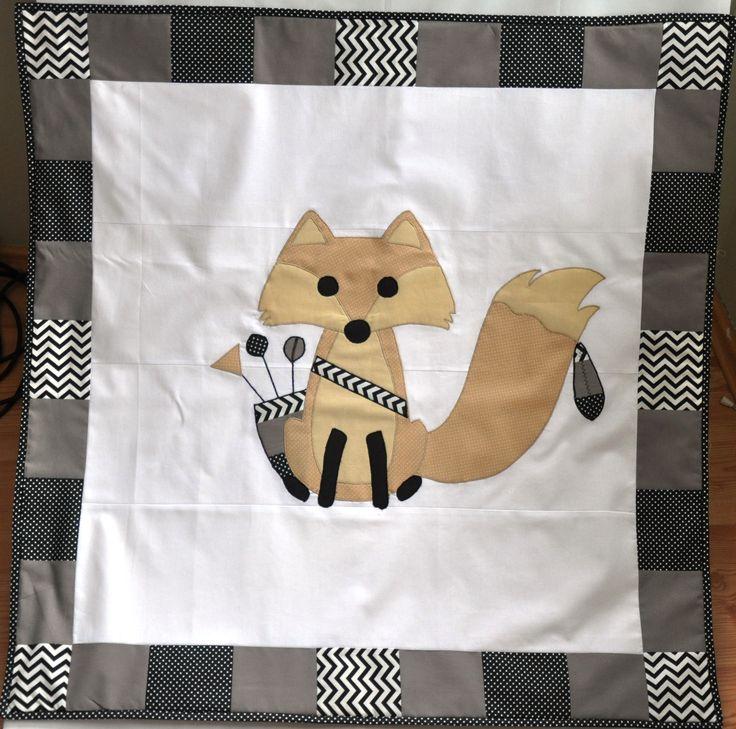 Sweet brave appliqued fox baby blanket