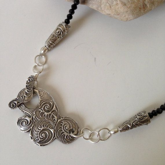 Black Spinel Necklace Toggle Necklace Beaded by endivaartisan