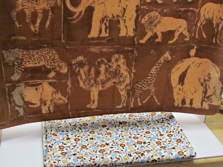 Vintage Twin Size Flat Sheet & Pillowcase, Blue Brown Tan, Asian African Animals, Elephant Zebra Giraffe Camel Rhino Gazelle Cougar Leopard by GrammysGoodys on Etsy