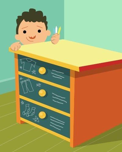 MÓVEL-LOUSA | Se você tem um móvel antigo ou manchado, pinte-o com tinta lousa e peça para a criança escrever em cada gaveta o que deve ser guardado ali. Ela irá adorar a brincadeira e se sentirá estimulada a organizar suas roupas e objetos