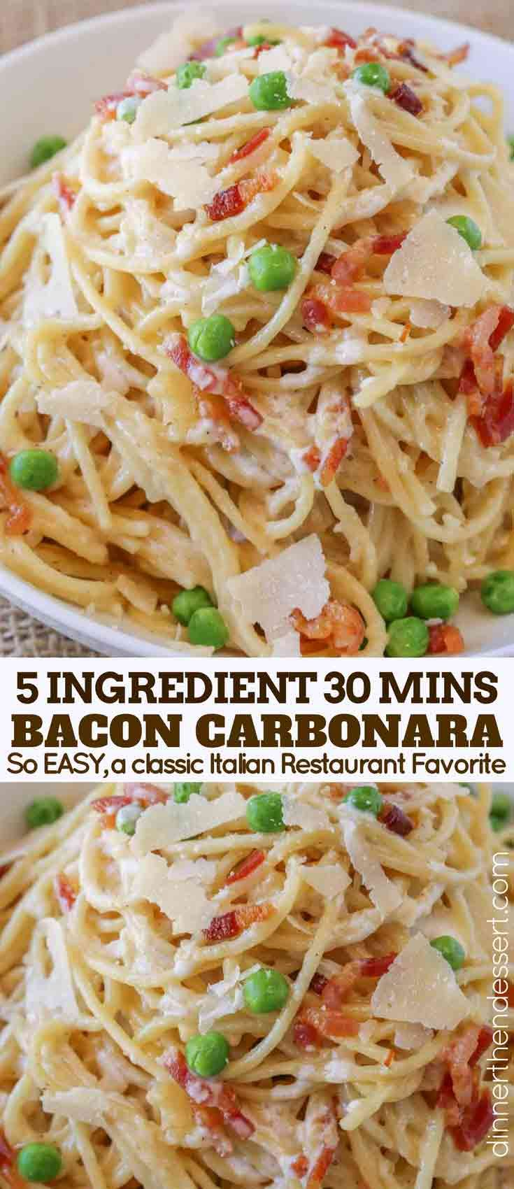 Bacon Carbonara Pasta is an Italian classic pasta dish with creamy egg sauce wit…