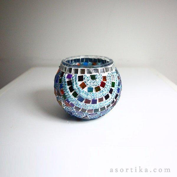 Sevgi Taşları Mozaik Mumluk