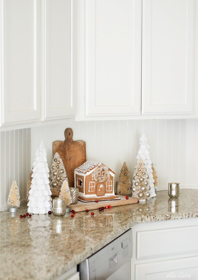 vintage christmas gingerbread village christmas kitchen by ella claire kitchensigndecor - Pinterest Christmas Kitchen Decorating Ideas