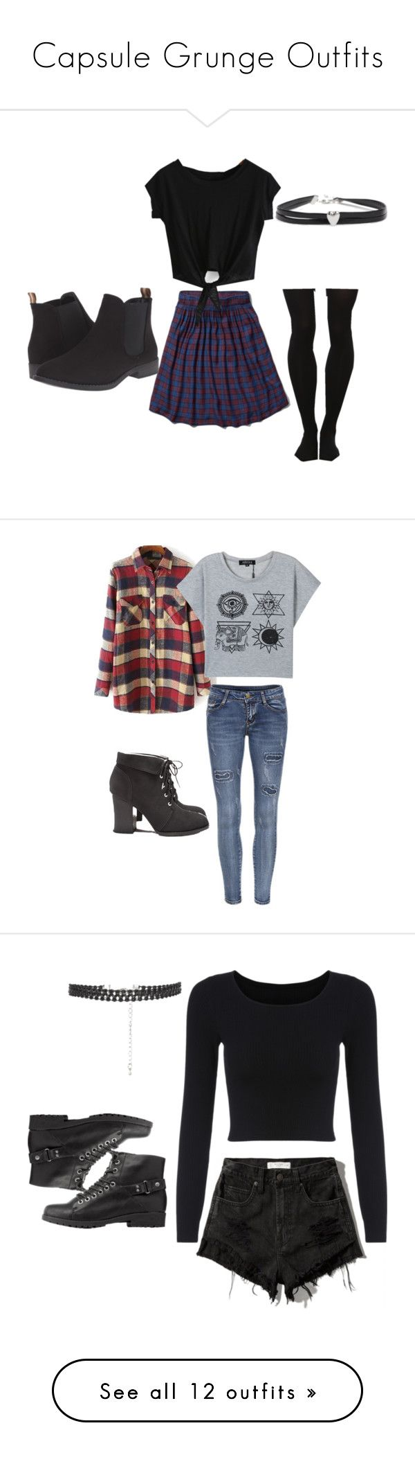 """""""Capsule Grunge Outfits"""" by arabella-space ❤ liked on Polyvore featuring Abercrombie & Fitch, Patrizia, ASOS, women's clothing, women, female, woman, misses, juniors and Forever 21"""