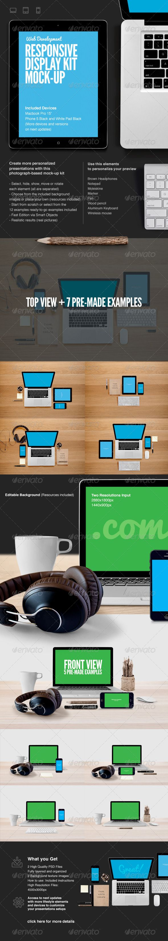 Responsive Web Display Kit MockUp — Photoshop PSD #screen #white • Available here → https://graphicriver.net/item/responsive-web-display-kit-mockup/6619319?ref=pxcr