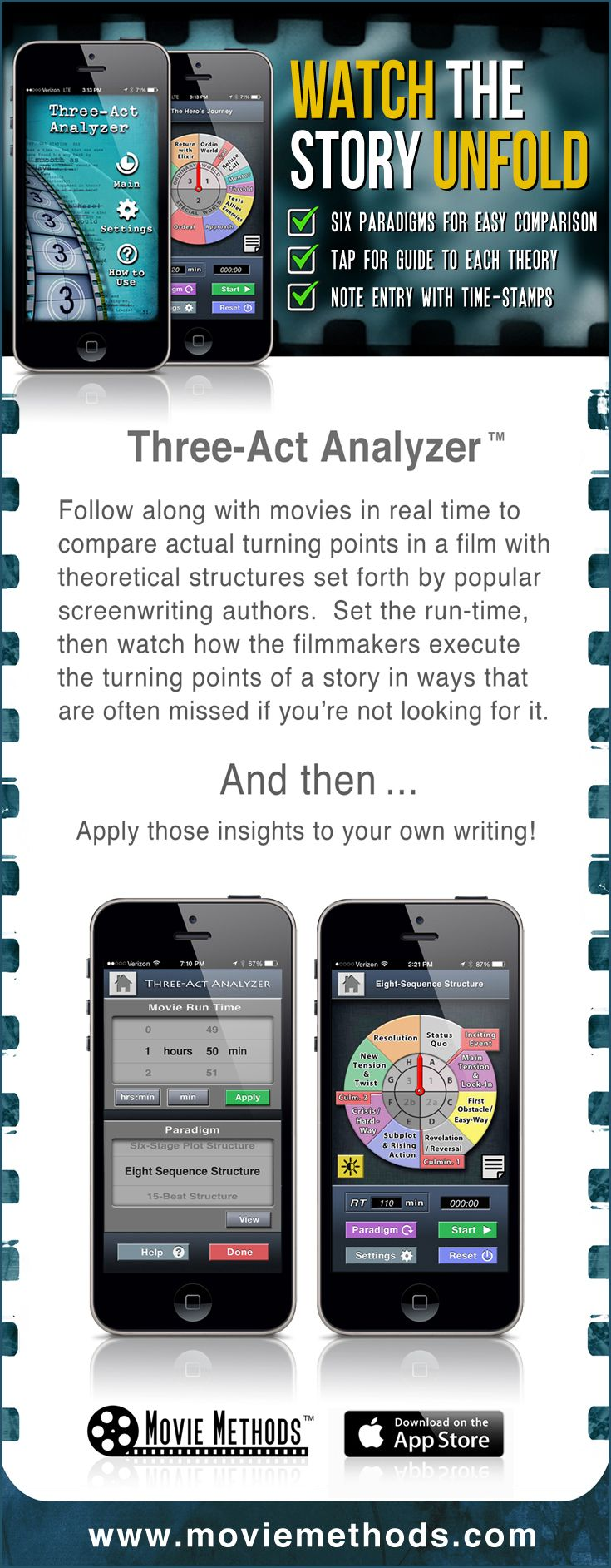 Innovative Story-Analysis app for screenwriters, film students and story analysts. Puts all of the structural theories at your fingertips for easy one-to-one comparison as you write.