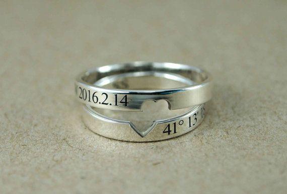 Paar Ringe, paar Ring Set, Versprechen Ringe für Paare, sein Herz ihr, Promise Ring, benutzerdefinierte Koordinaten Ring, Lage Ring, Ring