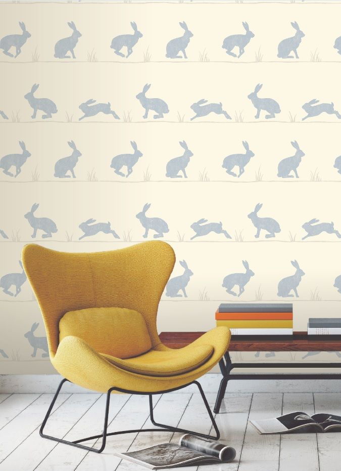 Colours nell nordic blue rabbit wallpaper