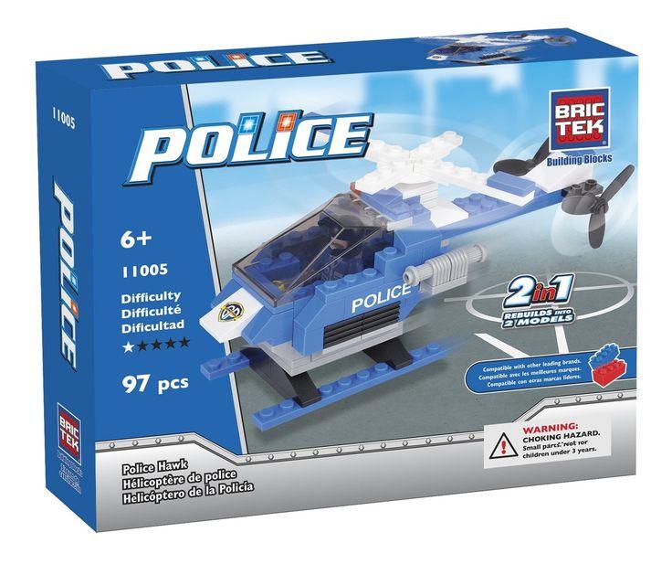 Hélicoptère de police à construire 2-en-1 - Jeu de construction de 97 pièces. Mode d'emploi. -  Age : 6 ans et + -  Référence : 44528 #Jeux #Jouet #Famille #Enfant #Chalet #Vacances