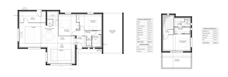 Plan de la construction - toit terrasse 120m2 habitables Maison