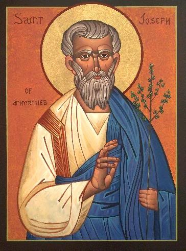 Feast of St. Joseph of Arimathea;  Christian Religious Observance;  March 17;  Disciple of Jesus who provided the tomb for Jesus'  burial. By tradition, he was Jesus' uncle and took  him to Britain on a tin-trading trip. After the Crucifixion, Joseph and others settled at Glastonbury  in A.D. 63 or 64, erecting the first church in Britain, which became its most sacred spot. Patron  saint of tin workers, working travelers, and funeral directors.