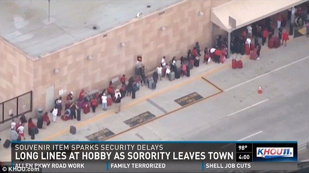 New chapter in airport delays: Sorority sisters' souvenir booklets cause pre-flight chaos in Texas because they could be mistaken for BOMBS by scanners
