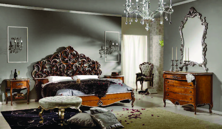 Bed from Meggiorini Santino Collection Pat din lemn masiv