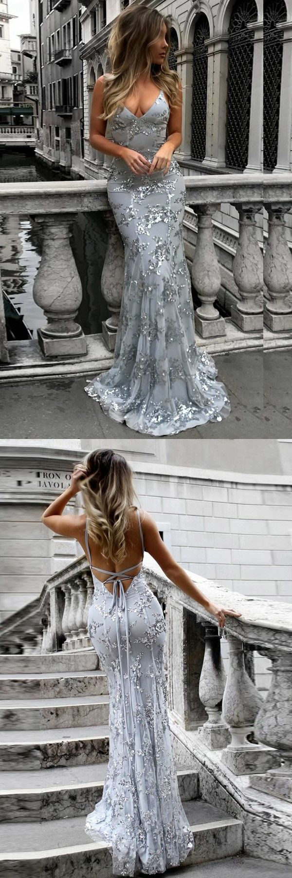 chic grey v-neck formal party dresses, elegant beaded mermaid prom dresses.