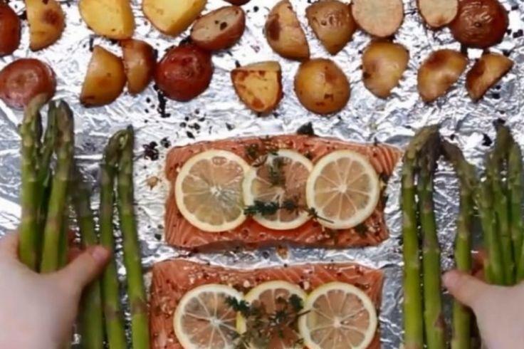Saumon, pommes de terre grelots et asperges, cuits au four