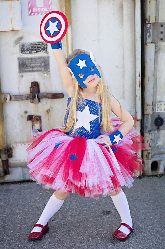 Captain America girls inspired tutu dress and costume in red blue and white