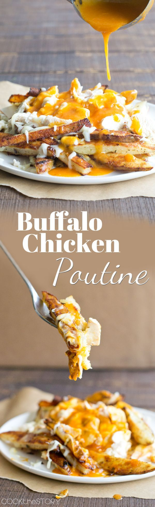Buffalo Chicken Poutine (9 Better Than The Burger Unique French Fry Recipes)- Ranch seasoning French fries with a delicious  beer butter and wing sauce gravy that is to die for!