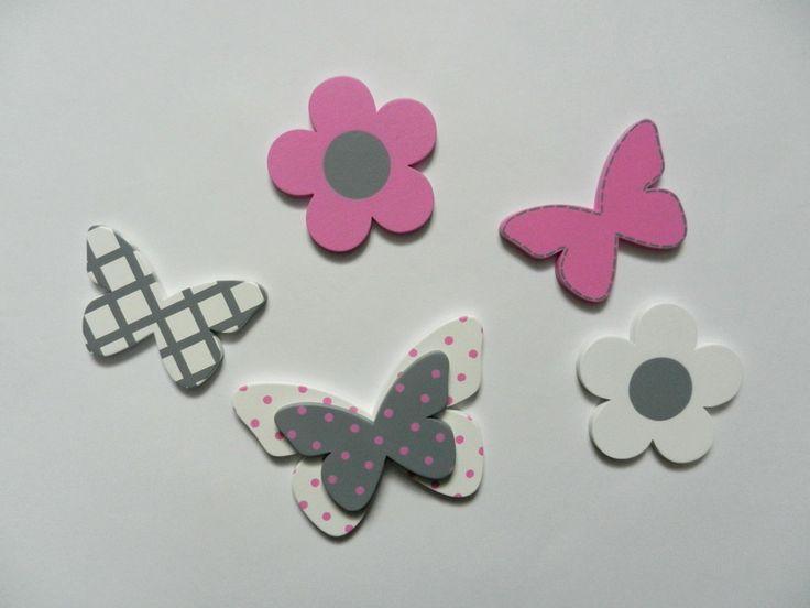 Drewniany zestaw dekoracji motylki szarość róż - PracowniaMatati - Dekoracje pokoju dziecięcego