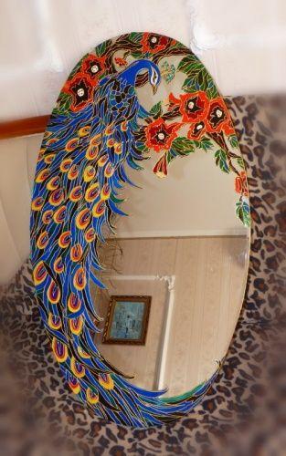 Ceramic  Glass Peacock Mirror