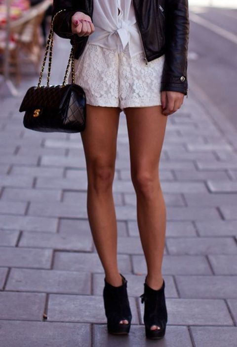 : Shoes, Chanel Bags, Summer Looks, Cute Outfits, Black White, Legs, White Lace, Leather Jackets, Lace Shorts