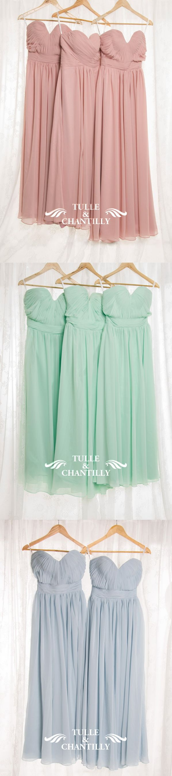 long strapless sweetheart chiffon bridesmaid dresses in dusty rose, mint and light blue