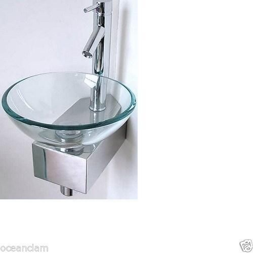 Small sink round glass wash basin small compact space mini clear corner tap round glass - Glass cloakroom basin ...