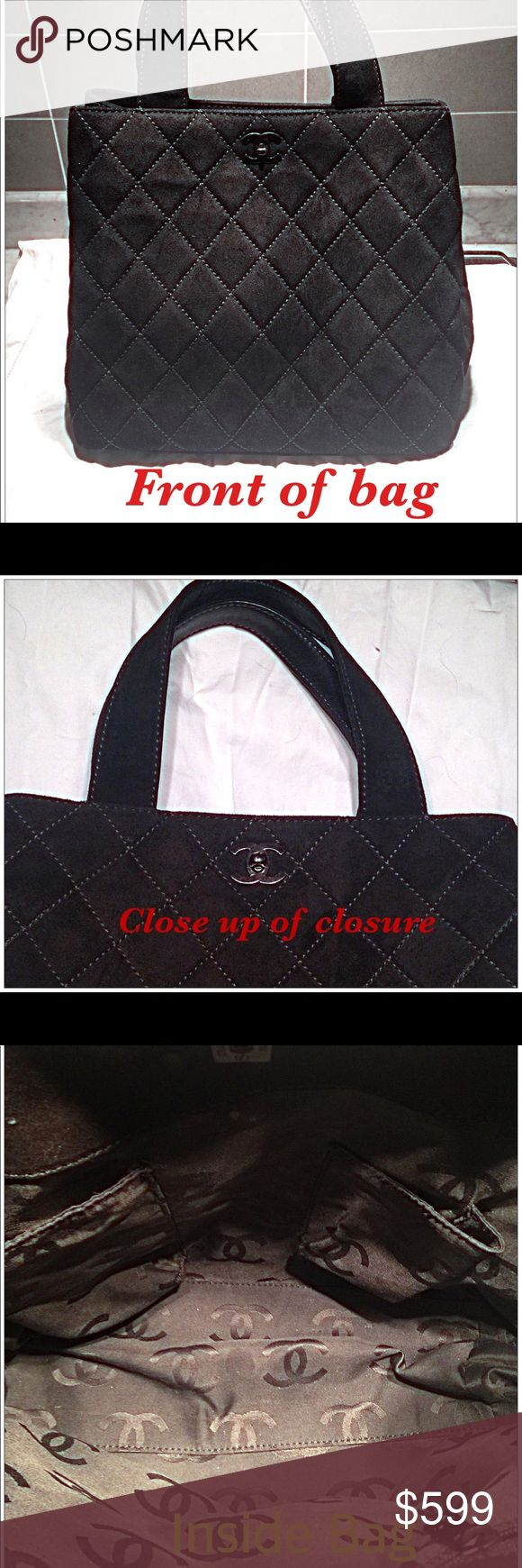 Chanel: Authentic Quilted Suede Shoulder Bag Preloved quilted suede shoulder bag with turn lock closure. All pictures PROVE AUTHENTICITY! Very roomy & super clean inside. Zippered pocket on one side where you will find authenticity tag. Double pockets on the other side. Brass studs on the bottom protect it when standing. It was brown but professionally died several years ago. Comes with Chanel dust bag. Open to reasonable offers though already at a great price. Happy to answer questions. No…
